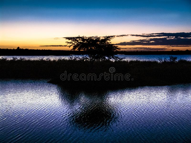 Sunset in Sao Francisco river royalty free stock photography
