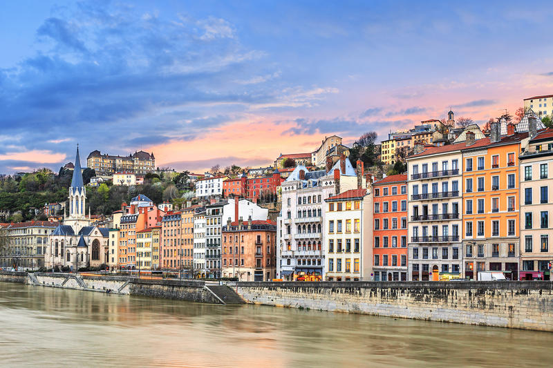 Sunset on Saone river. At Lyon, France royalty free stock photo
