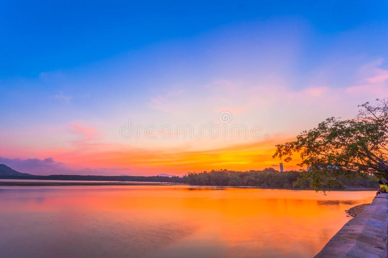 Colorful seashell on the Sapanhin beach. Sunset at Sapan Hin park there have many interesting things to see the light house beside canal fishing birds life royalty free stock images