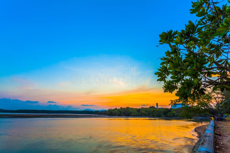 Colorful seashell on the Sapanhin beach. Sunset at Sapan Hin park there have many interesting things to see the light house beside canal fishing birds life stock photo