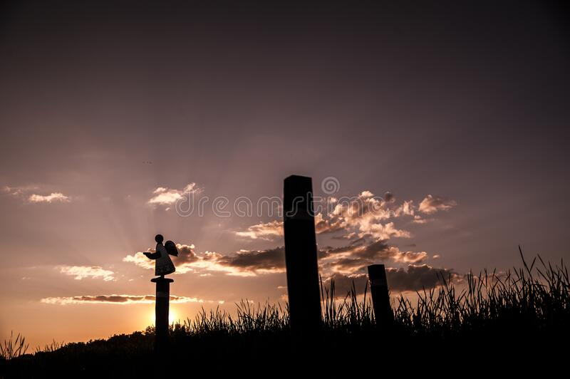 Sunset in Saskatchewan with an angle on post royalty free stock photo