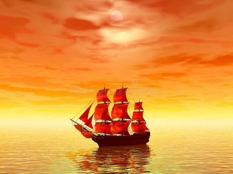 Sunset. Scarlet sails royalty free stock photography