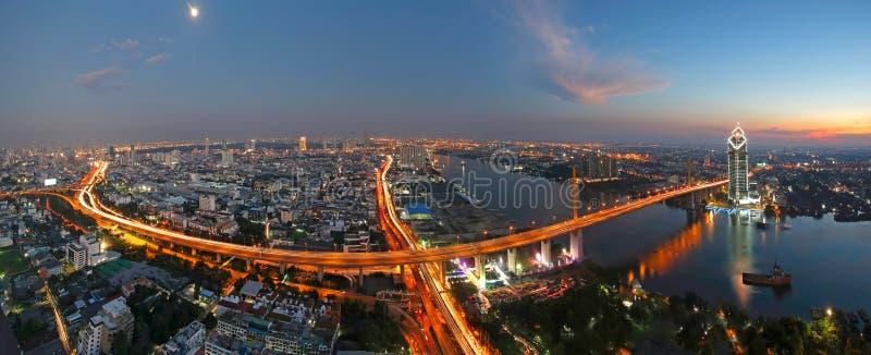 Sunset scence of Rama 9 Bridge with Chaopraya river at Bangkok Thailand. Sunset scence Rama 9 Bridge with Chaopraya river at Bangkok Thailand stock photo