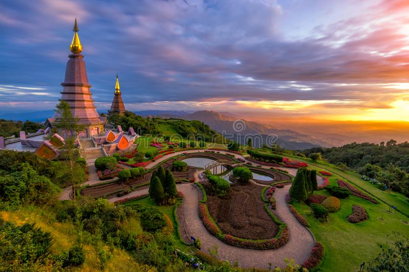 Sunset scence of two pagoda on the top of Inthanon mountain in d. Oi Inthanon national park, Chiang Mai, Thailand stock images
