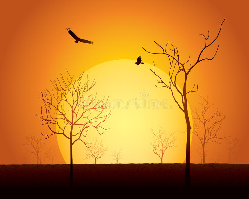 Download Sunset scene stock vector. Image of global, backlit, orange - 26559559