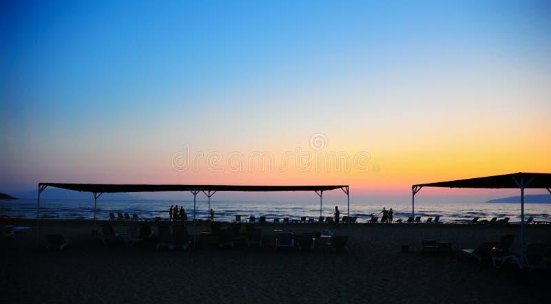 Sunset scene at beach stock image