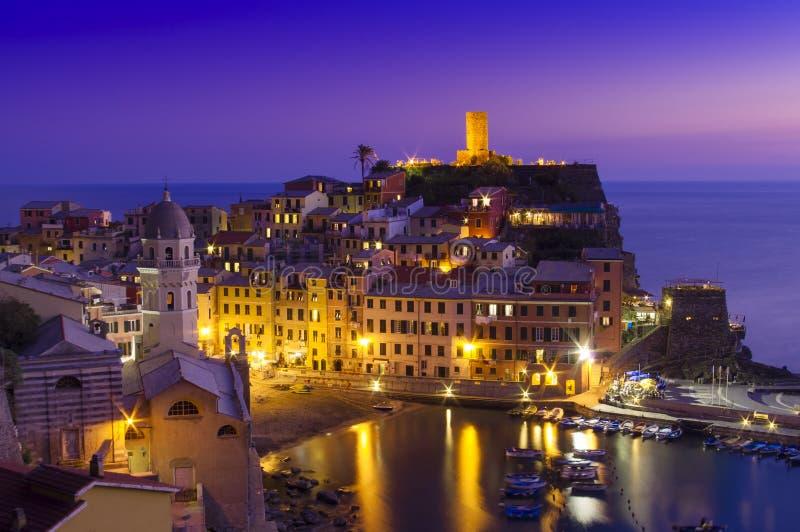 Sunset scene near the sea coast of Vernazza stock photo