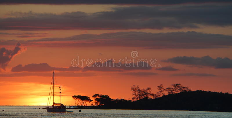 Sunset scene over the Arafura Sea and Red Island Seisia Cape York Australia royalty free stock image