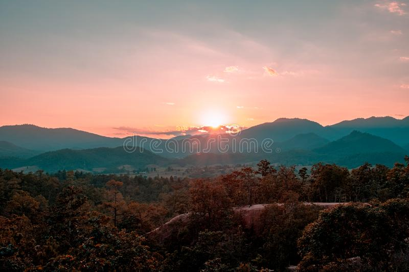 Pai Canyon, Mae Hong Son, Thailand. Sunset scene at Pai Canyon, Mae Hong Son, Thailand. The best sunset place in the city royalty free stock images