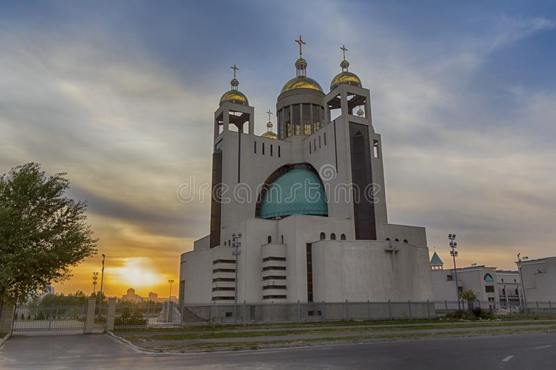 Sunset scene with the Patriarchal Cathedral of the Christ Resurrection. Kiev stock photography