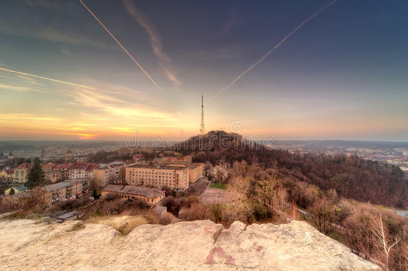 Sunset scenery of Lvov, view from height. Ukraine stock images