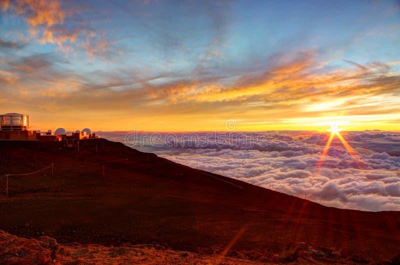 Sunset and Science City on Haleakala summit, Maui, Hawaii. Spectacular sunset and Science City from the summit of Haleakala in Maui Hawaii stock photos
