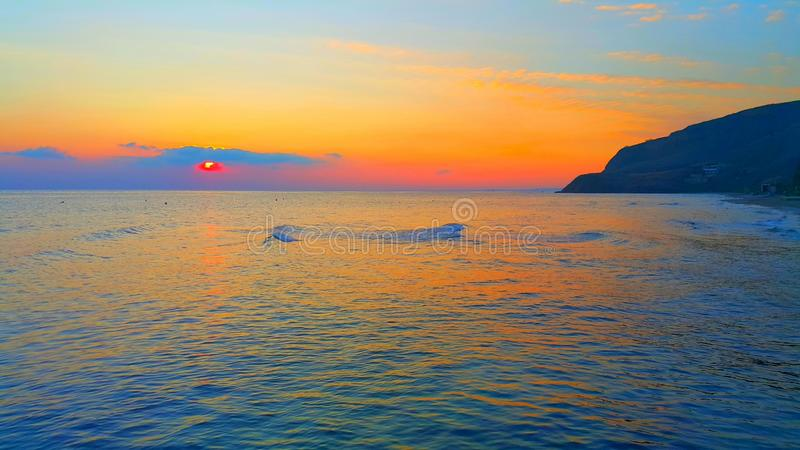 Sunset and sea.  royalty free stock photography