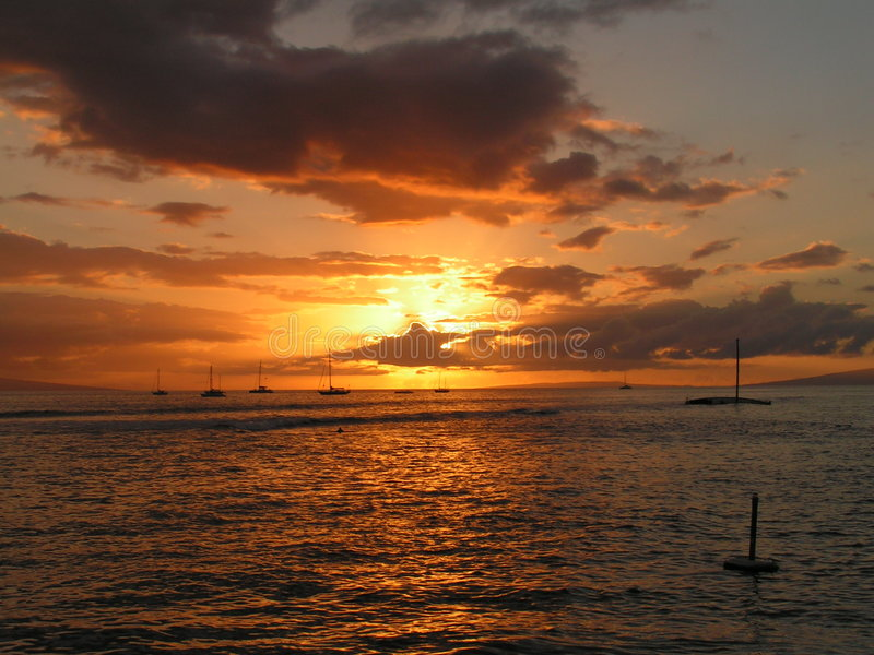 Download Sunset on the Sea stock image. Image of hawaii, ship, clouds - 141333