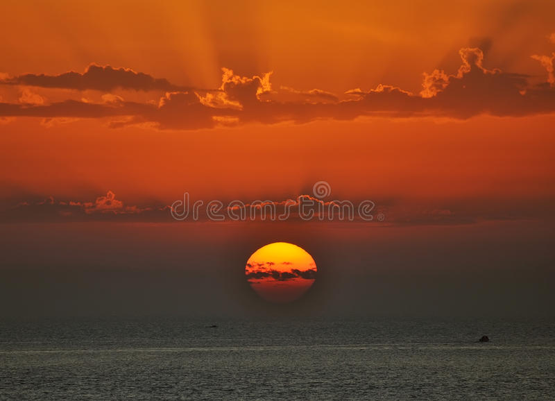 Sunset and sea royalty free stock photos