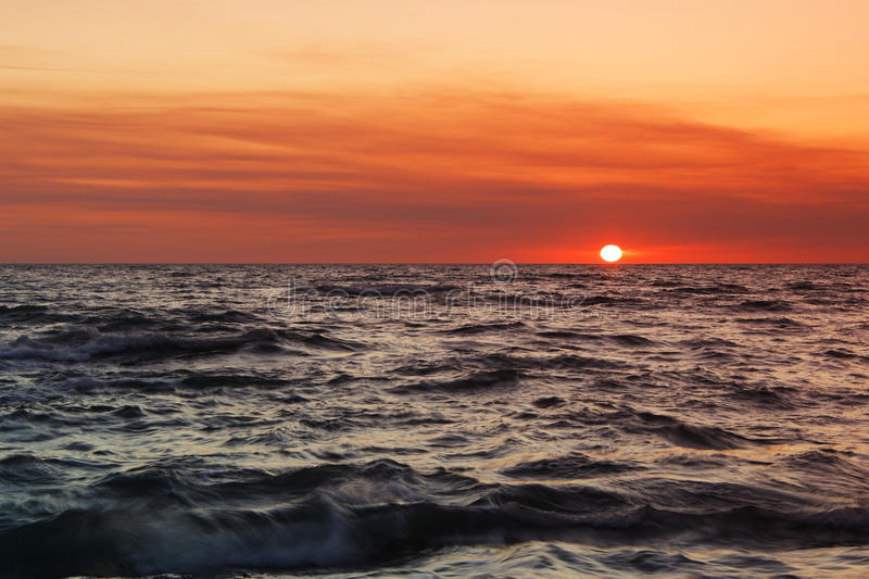 Download Sunset at Sea. stock photo. Image of background, wave - 20902884