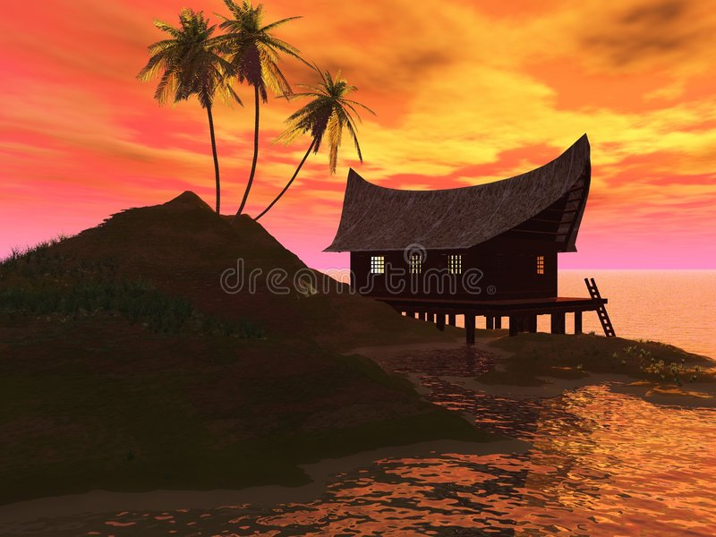 Sunset on sea stock illustration