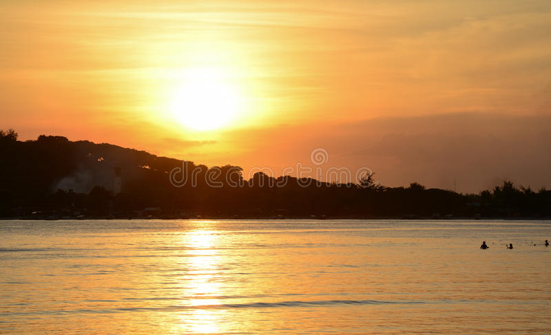 Sunset on the sea in Bali island, Indonesia royalty free stock photos