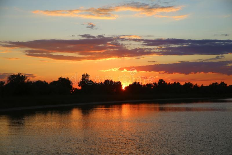 Sunset on the sea beach. royalty free stock photos