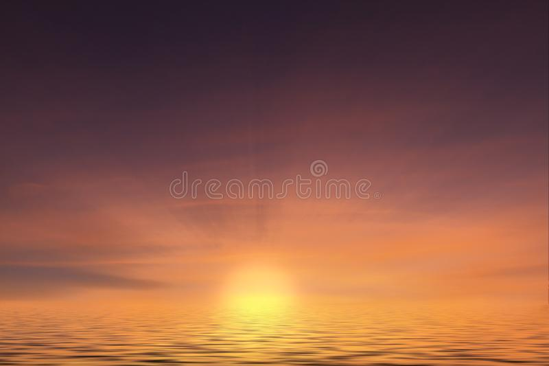 Sunset at sea with calm ocean water. Sunset at sea with just the ocean waves and orange and pink sun setting. Water horizon landscape with no people royalty free stock photo