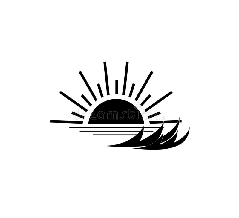Sunset at sea icon new black trendy design style on white background. stock illustration