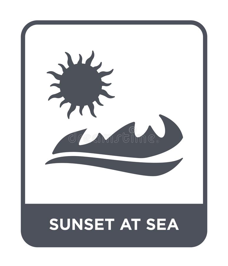 Sunset at sea icon in trendy design style. sunset at sea icon isolated on white background. sunset at sea vector icon simple and. Modern flat symbol for web vector illustration