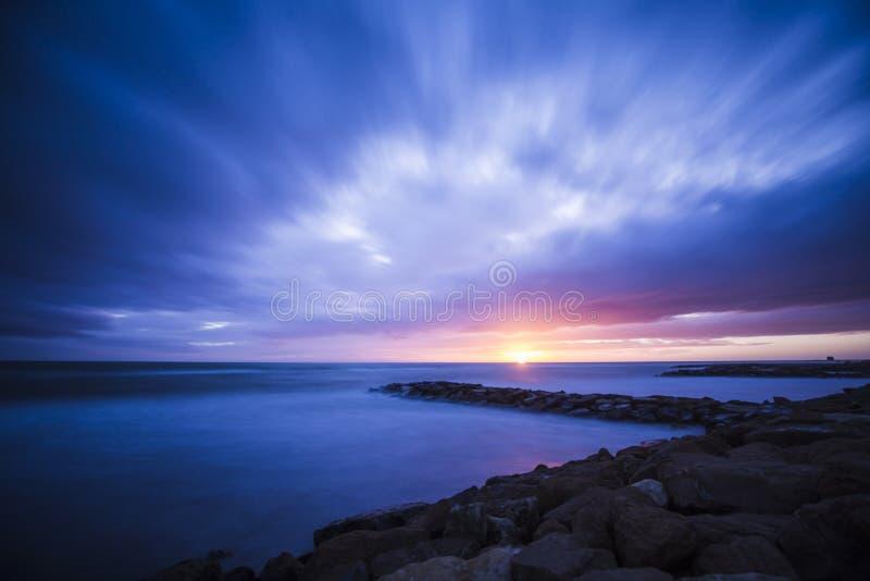 Sunset on the sea in italy. Landscape in Ladispoli on the Tyrrhenian Sea in Italy stock image