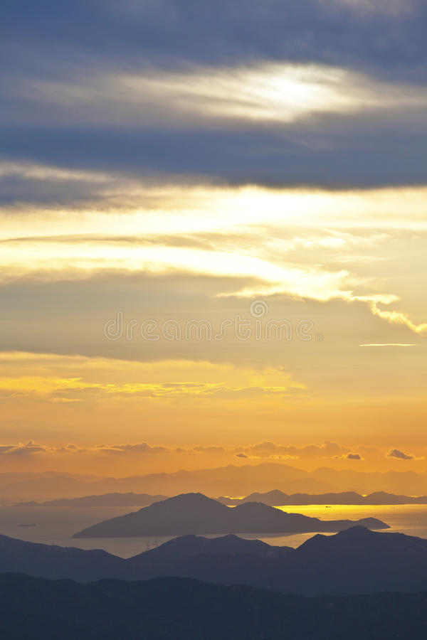 Download Sunset At Sea And Mountains In Hong Kong Stock Image - Image: 27054195
