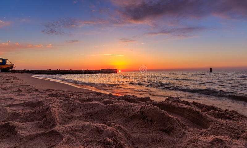 Download Sunset at the sea stock image. Image of wide, beach, blue - 30893715