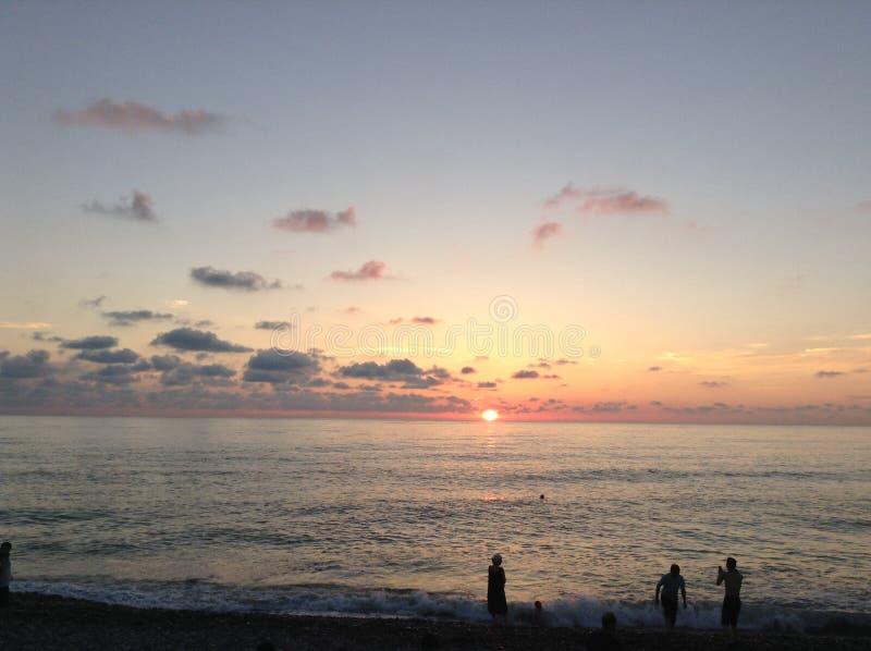 Sunset&Sea&people royalty-vrije stock afbeeldingen