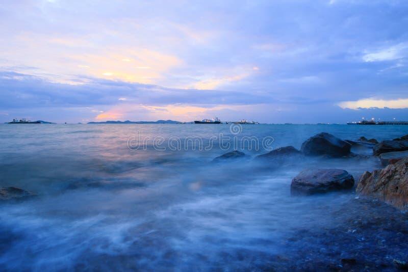 Sunset at sea port