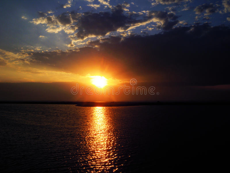 Sunset on the sea royalty free stock images