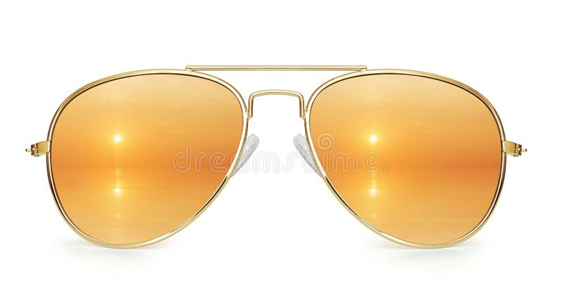 Sunset on the sea reflection in aviator sunglasses isolated stock photo