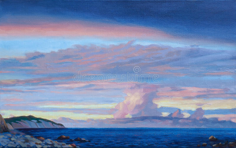Download Sunset sea scenery stock illustration. Image of drawing - 25390321