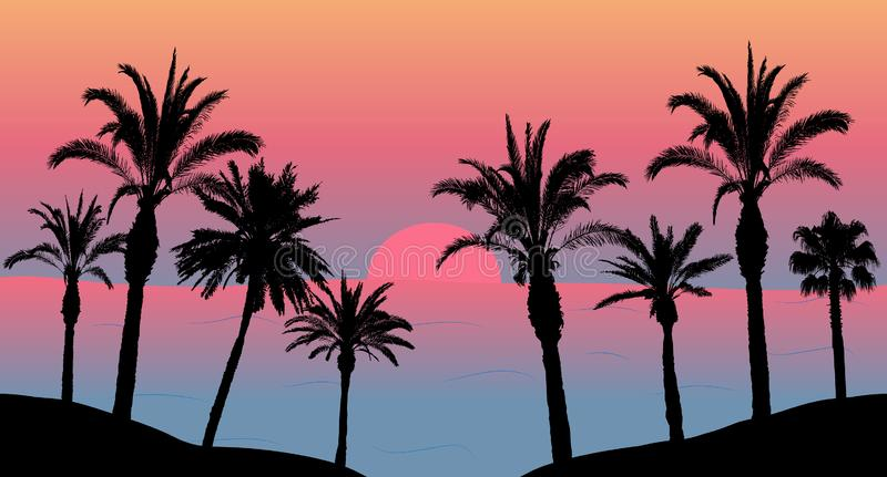 Sunset in the sea, silhouettes of palm trees on the beach. Vector illustration.  stock illustration