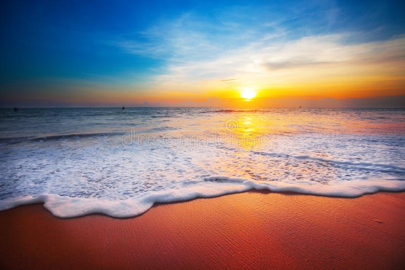 Download Sunset and sea stock photo. Image of area, horizon, orange - 107034456