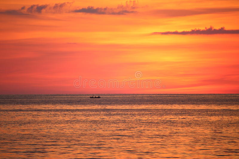 Sunset and sea. In Thailand royalty free stock images