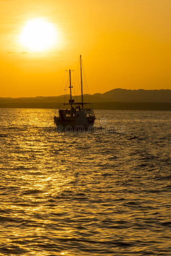 Sunset at sea. toned. Yacht in the sunset. copy space. vertical photo.  stock photography