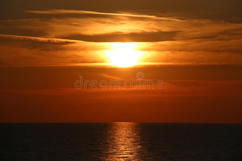 Sunset on the sea stock image