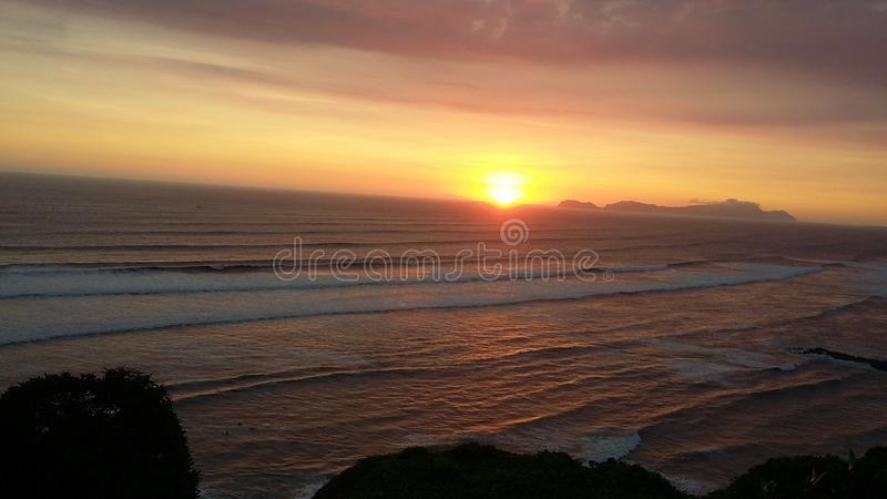 Sunset sea view of Lima stock photography