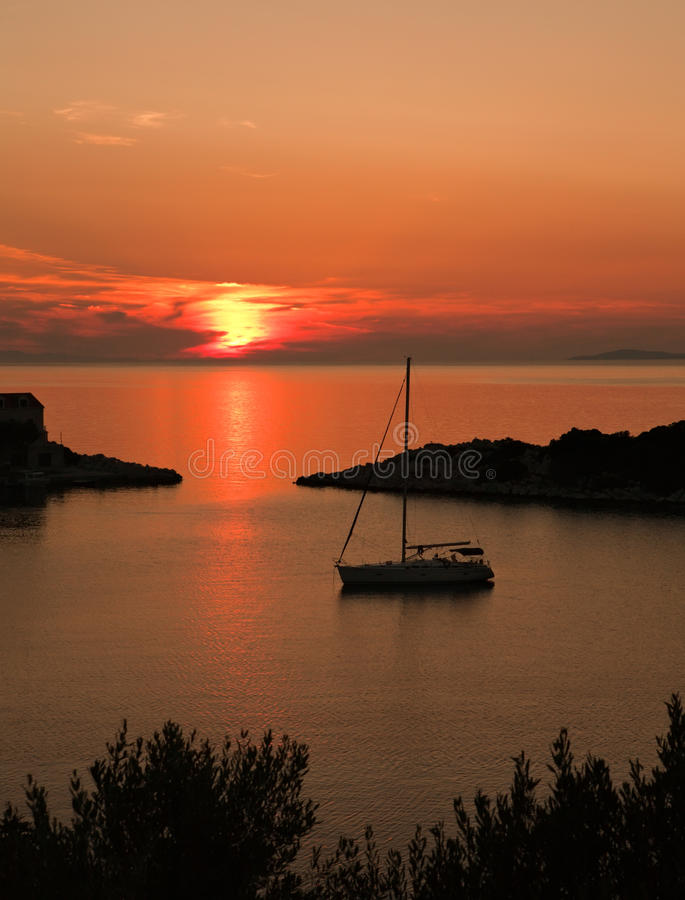 Download Sunset seascape stock photo. Image of croatia, lastovo - 16367460
