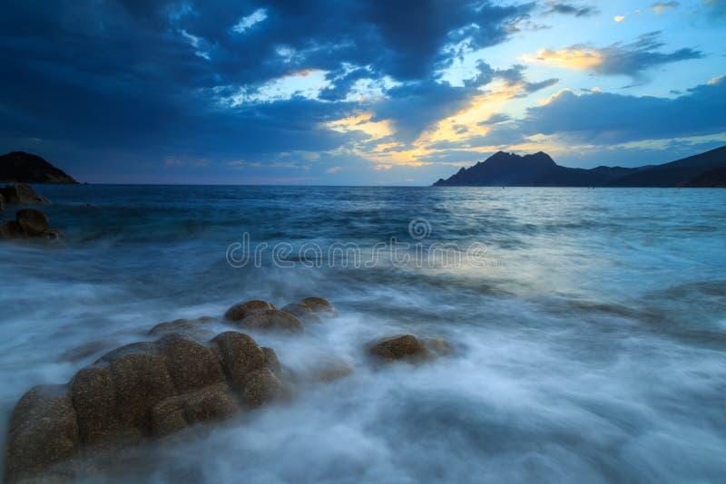 Corsica seascape at dusk. royalty free stock photo