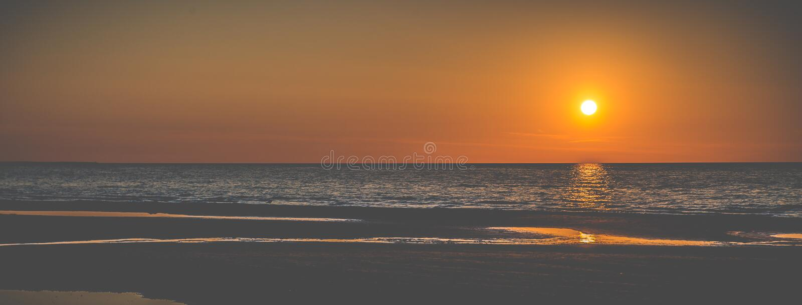 Sunset at the seaside banner royalty free stock images