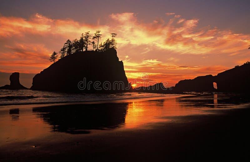 Sunset Second Beach, Olympic National Park. Olympic Peninsula, Washington, clouds, orange-sky royalty free stock photography