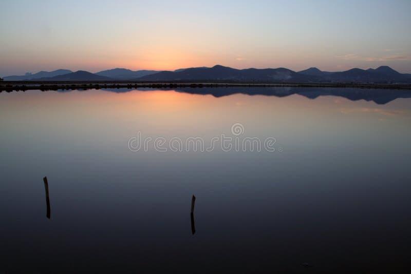 Sunset See-Salinen lizenzfreie stockfotografie