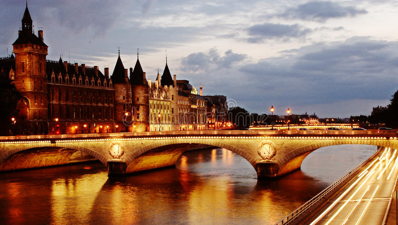 Sunset on the seine royalty free stock photo