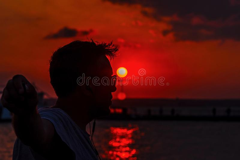 Sunset selfie royalty free stock photography