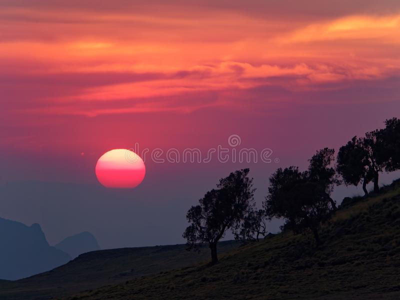 Sunset in the semien mountains royalty free stock photo