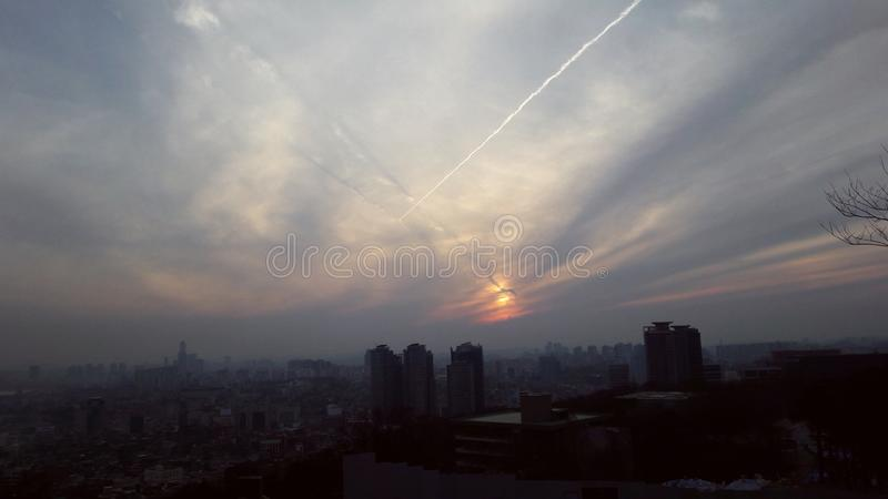 Sunset in Seoul royalty free stock photo