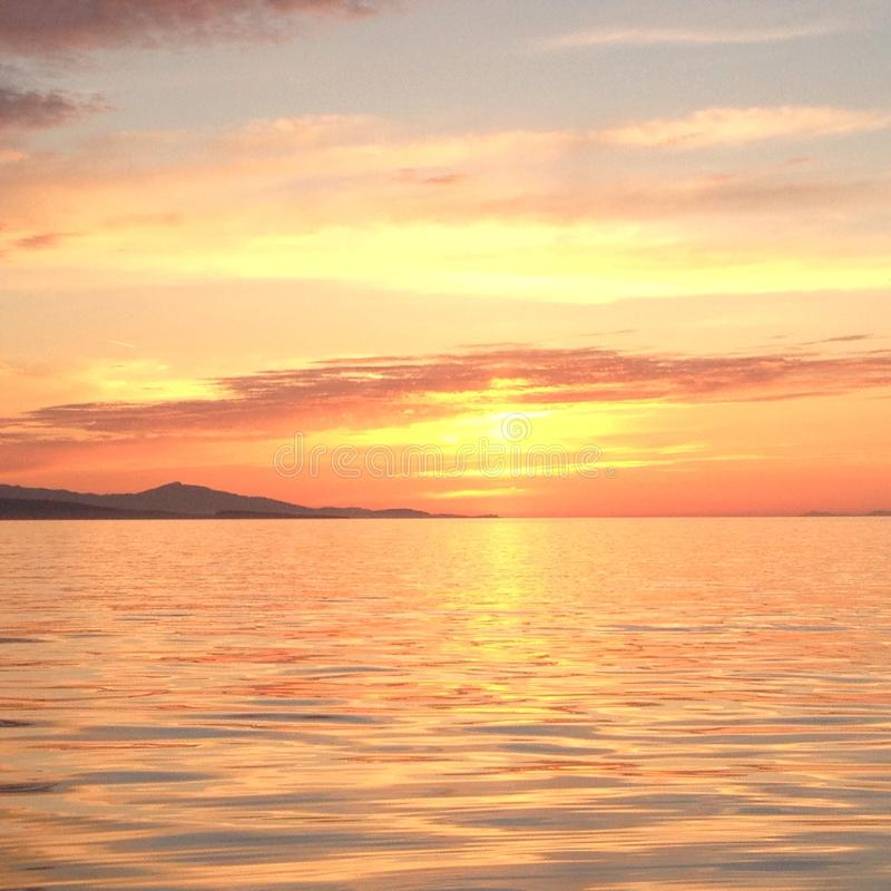 Sunset over Georgia Strait stock photography